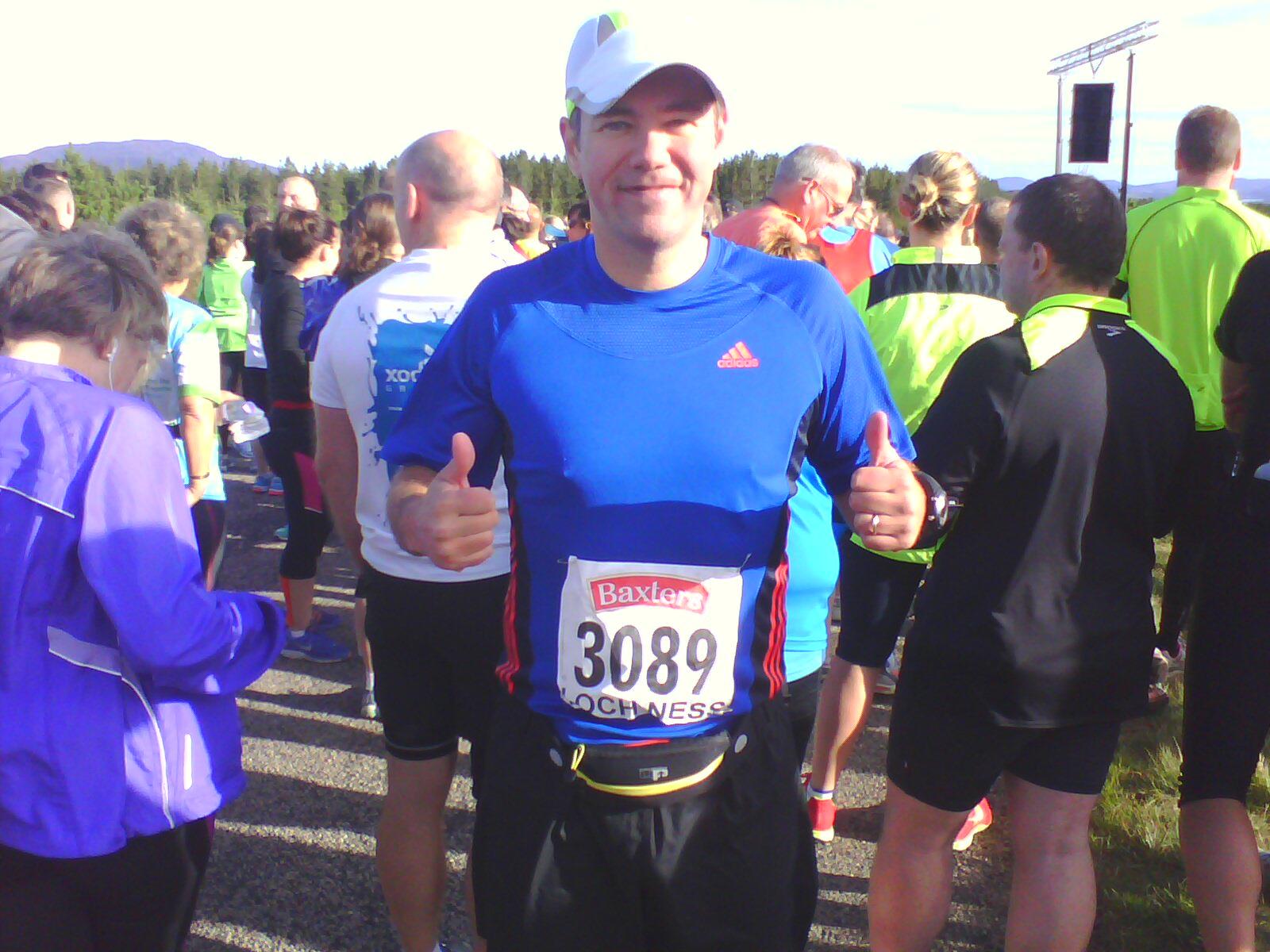 Jamie Haugh at the marathon start line