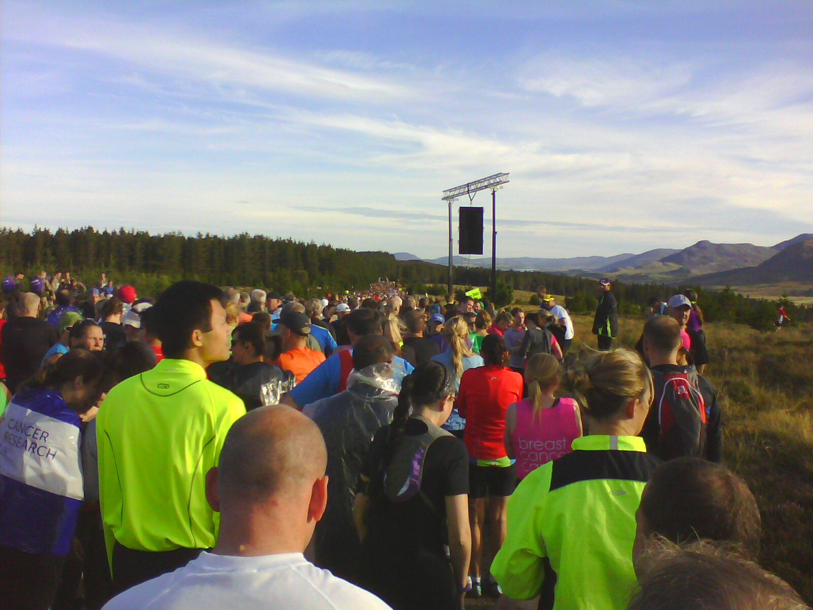 At the start of the Loch Ness Marathon